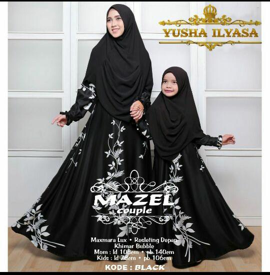 mazel couple busana muslimah ibu dan anak seragam pesta mewah sholiha