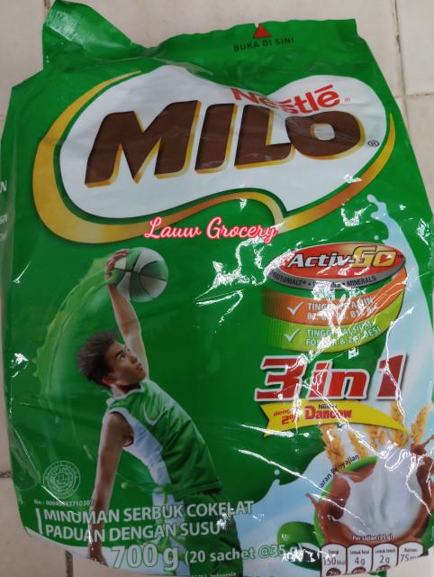 Milo 3in1 Sachet Isi 20pcs 700gram/Minuman Serbuk Cokelat Dengan Susu