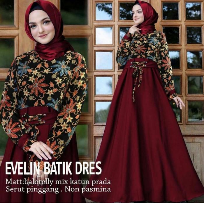 Jual model baju muslim gamis terbaru dan modern EVELIN BUNGA BATIK ... b1dc3ccd09