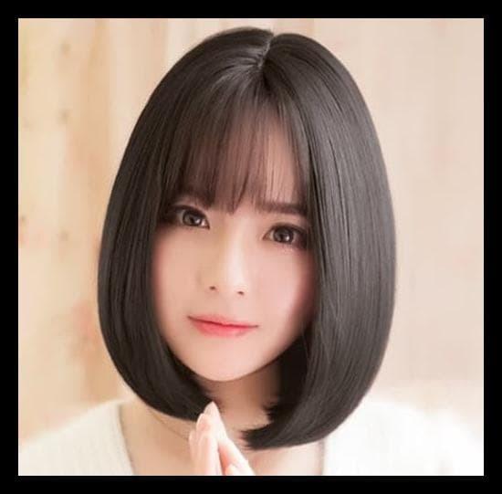Jual (Produk Baru!!) Wig Pendek Hitam Rambut Palsu Bob Korea Bangs ... 0be1982064