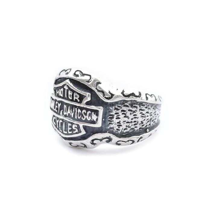 NEW PROMO Cincin Titanium Biker Ring Stainless Harley Davidson Ring Flame Silver.