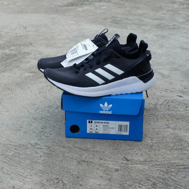 Save Off Eb55c F8fb0 Sepatu Lari Adidas Questar Ride Black White