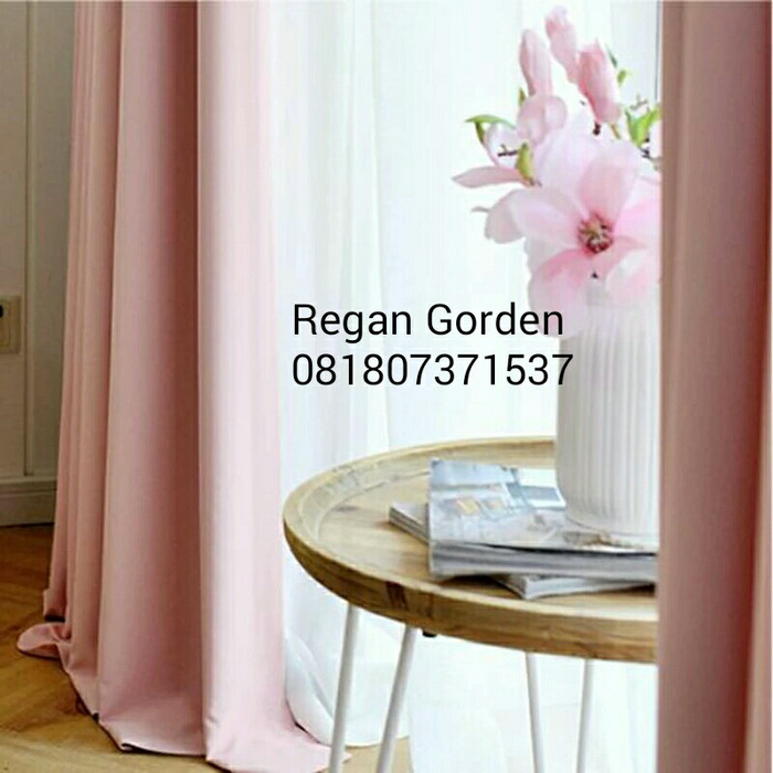 harga Gorden polos pink soft black out emboss mhc 95 - 15 tinggi 225 cm Tokopedia.com