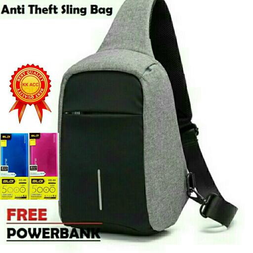 harga Tas Selempang Anti Maling With Theft Usb Free Powerbank Slim 5000mah Blanja.com