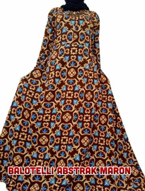 baju muslim wanita Gamis Motif Abstrak Balodior | Balotelli Syari 3
