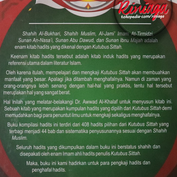 Religi 408 Hadits Pilihan Kutubus Sittah Pustaka Arafah Riniaga