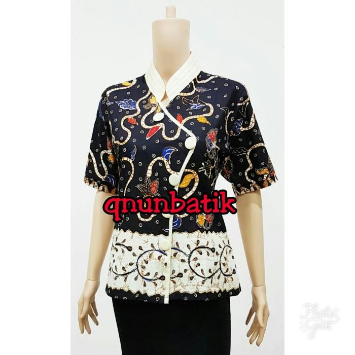 harga Blouse blus atasan batik jumbo xxl-xxxl meishin daun jaya hitam Tokopedia.com