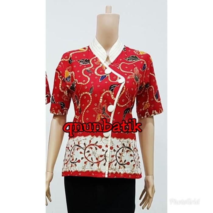 harga Blouse blus atasan batik wanita meishin daun merah Tokopedia.com
