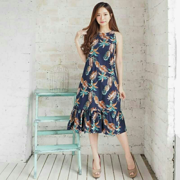 Jual Cute Long Dress Nanas Dress Pesta Wanita Korea Bangkok Import