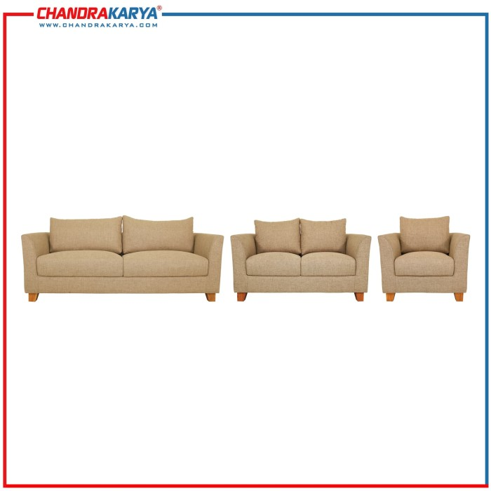 sofa minimalis quality caracas - 3-2-1 dudukan set - coffee brown