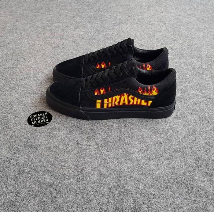6eae80ff58 Jual Sepatu Vans Old Skool X THRASHER Full All Black BNIB Original ...