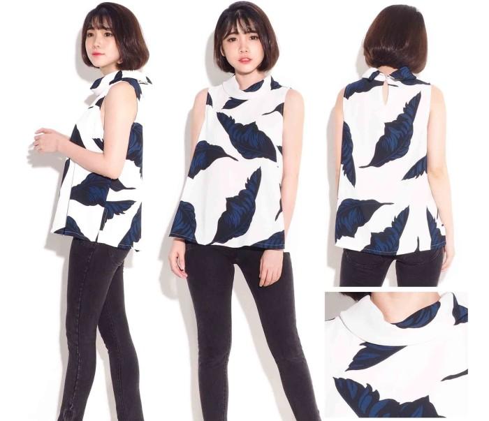 harga Alfani cowl leaf print top cewek baju atasan wanita branded murah Tokopedia.com