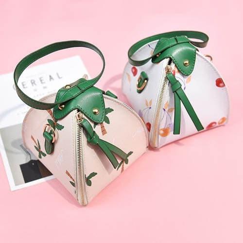 dual bag tas selempang sling bag tas tangan handbag mini print bta333 - pink