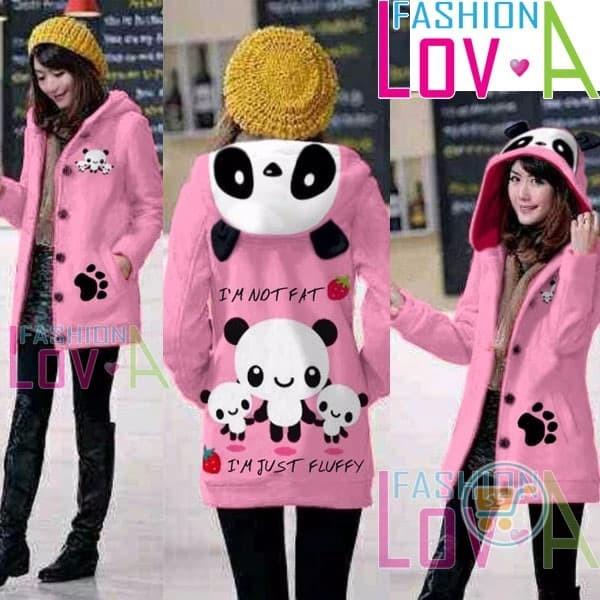 harga Jaket panda fluffy hoodie long blazer coat sweater mantel cewe wanita Tokopedia.com
