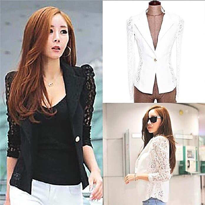 harga Blazer wanita lace jaket cardigan bolero slim fit brukat impor ae j 02 Tokopedia.com