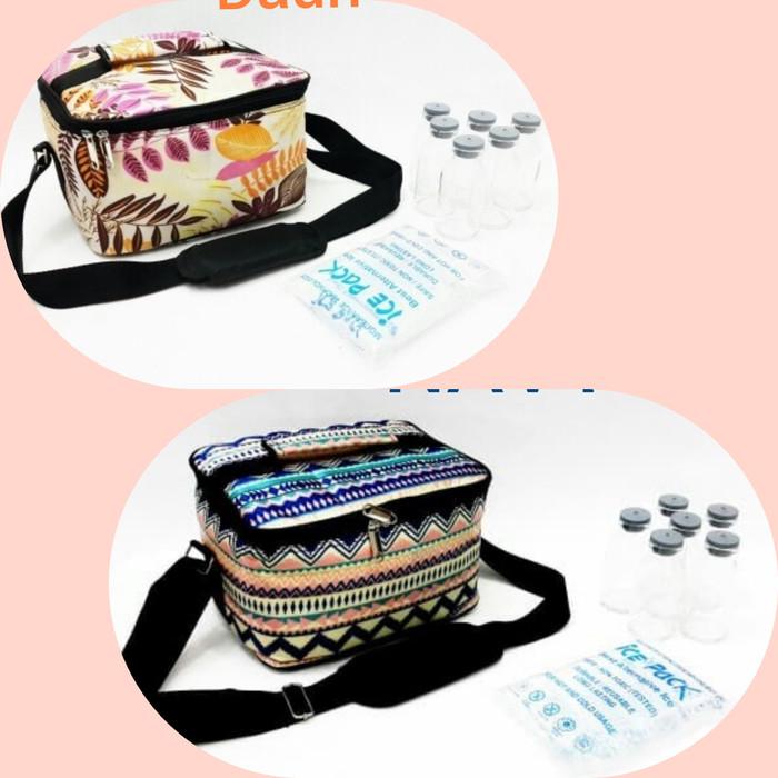 Paket cooler bag asi hemat murah / tas + ice gel + botol asi kaca5