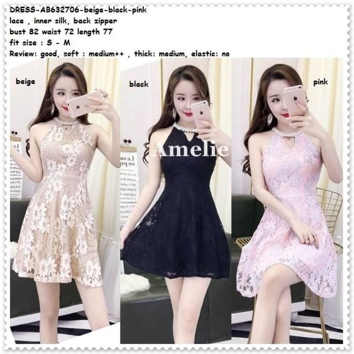 harga Mini dress brukat lace gaun pesta wanita korea import black pink gold Tokopedia.com