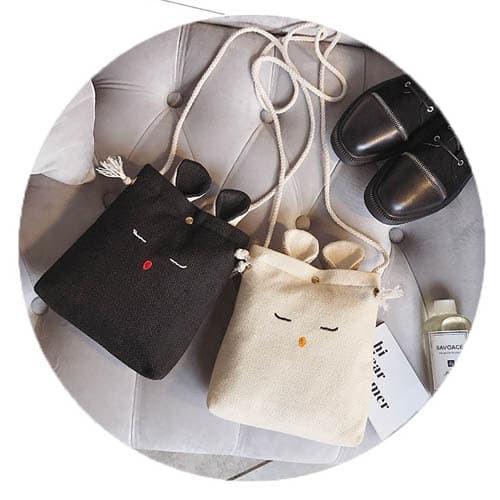 tas selempang kelinci korea cute rabbit mini sling bag korea bta339 - coklat