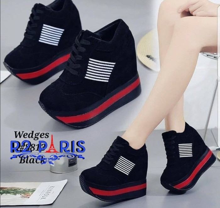 Jual Sepatu Sneakers Wedges Boots Wanita Kinvol Hitam Merah R2 ... e017f7134a