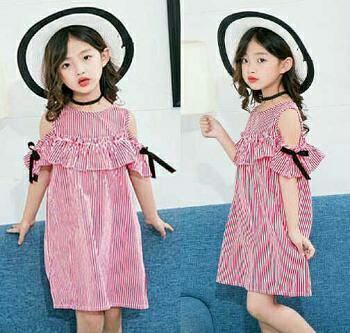 Dress Sabrina Anak/Baju Sabrina/Dress Cut Shoulder/Dress Zola