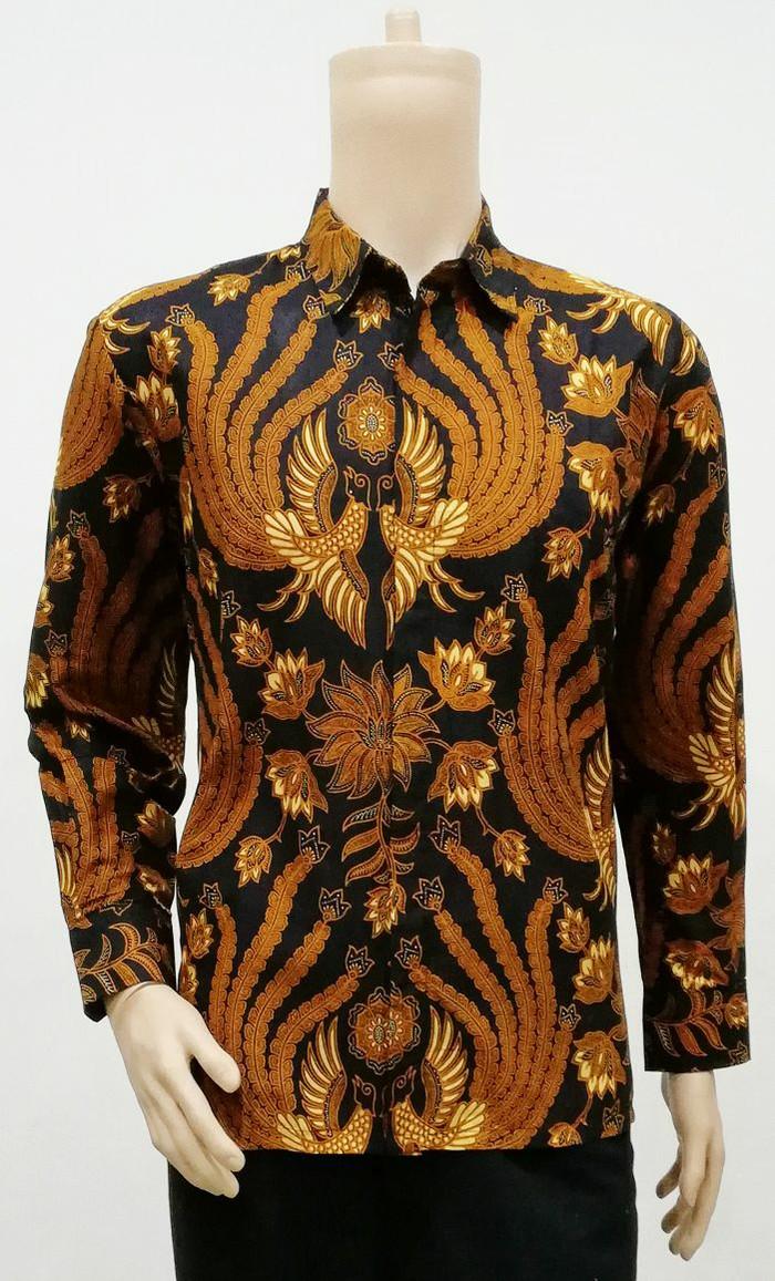 harga Kemeja panjang batik sogan - baju kerja pria batik solo klasik modern Tokopedia.com