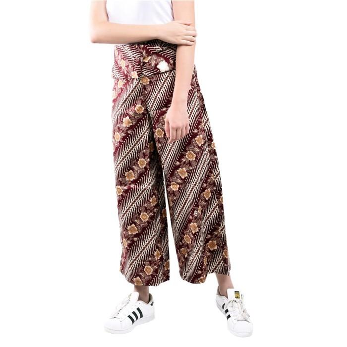 Lemone cullote pants/ celana kulot wanita/ batik - marun .