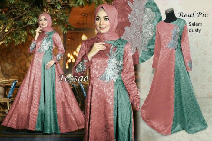 Jual Baju Gamis Pesta Wisuda Modern Remaja Tasya Import Batik Warna