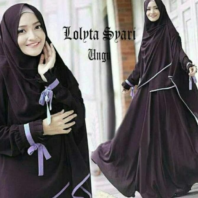 Baju Busana Muslim Gamis Lolita Syari Maroon Bergo No Ped Promo 2