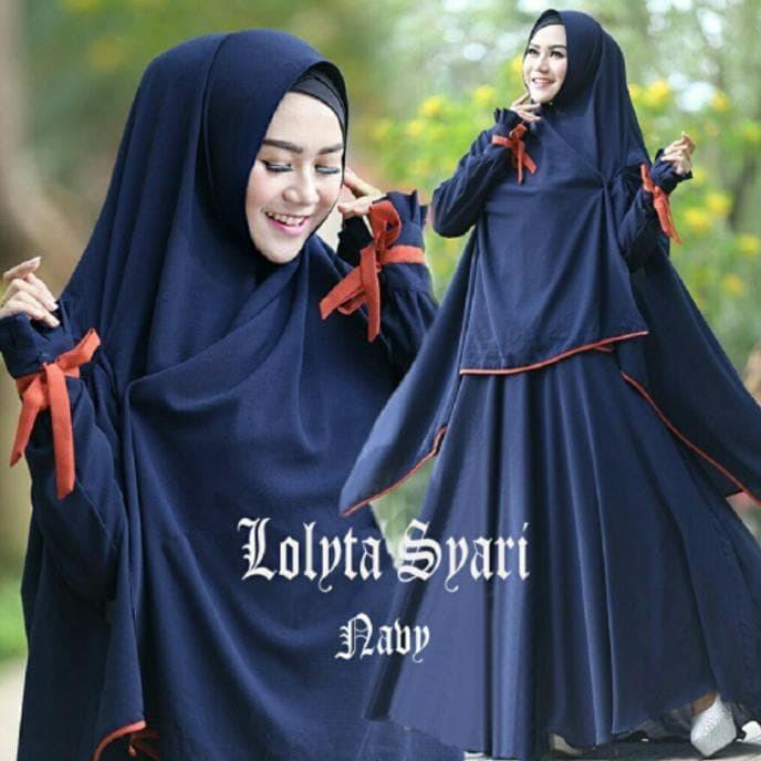 Baju Busana Muslim Gamis Lolita Syari Maroon Bergo No Ped Promo 4