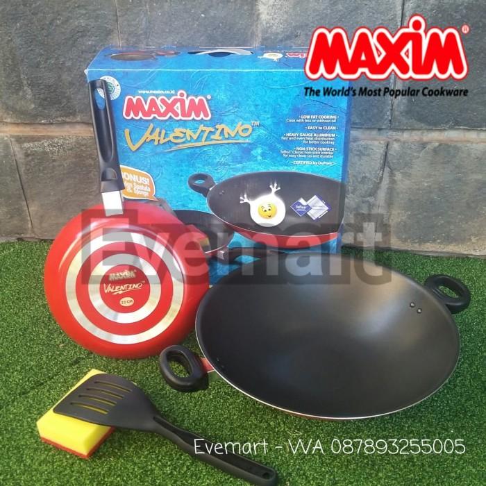 Maxim Valentino Set 2 pcs; Wajan Wok + Frypan Penggorengan Teflon
