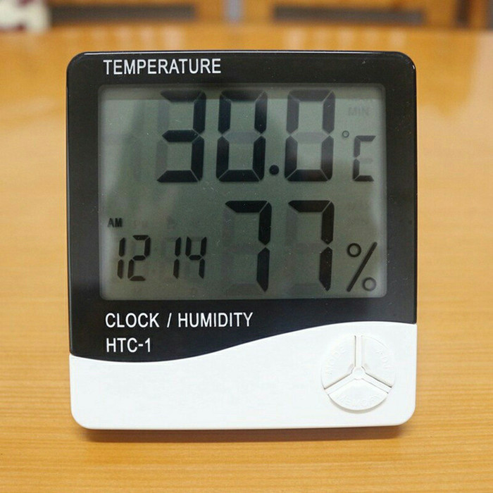 Termometer Hygrometer Jam Alarm / Alat Pengukur Suhu Dan Kelembaban