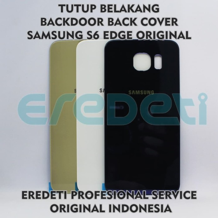 TUTUP BELAKANG BACKDOOR BACK COVER SAMSUNG S6 EDGE ORIGINAL KD-002565 - Emas