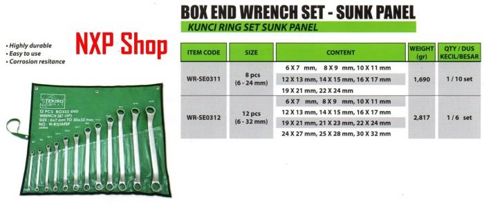 kunci ring set sunk panel 8 pcs 6-24mm TEKIRO box end wrench set