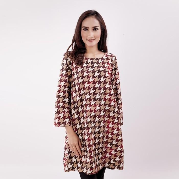 Batik pria tampan - dress batik zhafania maroon houndstooth - maroon s