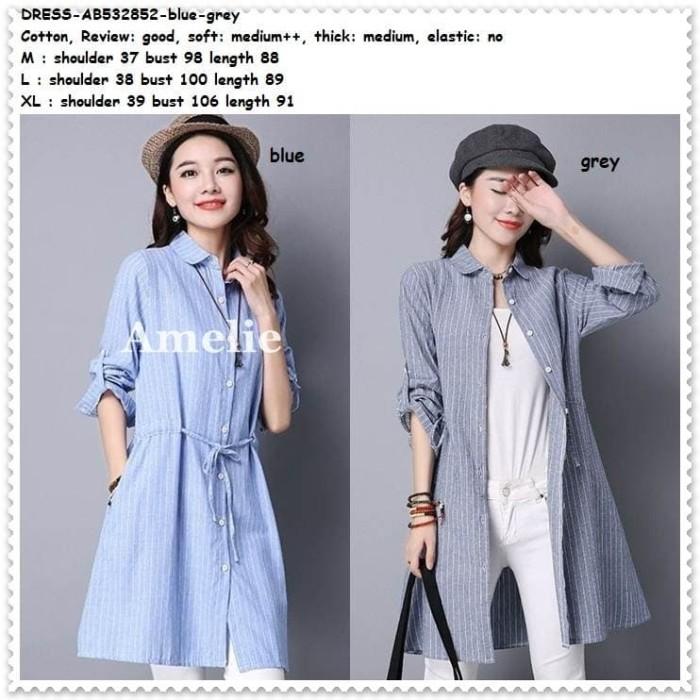 Foto Produk Mini Dress Kemeja Hem Wanita Blouse Korea Import Garis Blue Grey Tunik dari Amelie Butik Wholesale