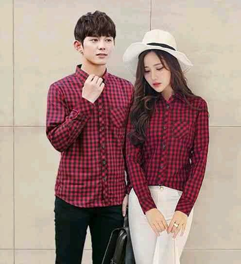 Kemeja Couple / Baju Pasangan / Baju Kapel Kemeja Kotak Merah