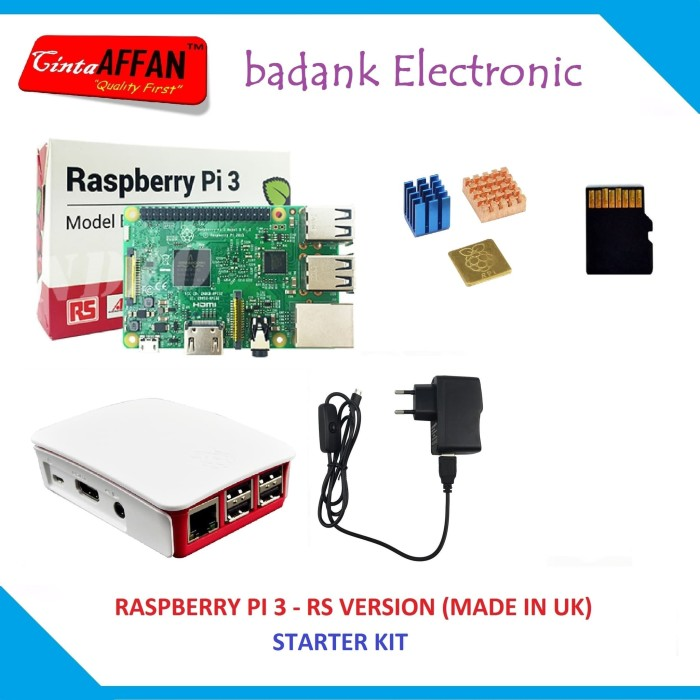 harga Raspberry pi 3 (made in uk) + official case, adaptor heat sink sd card Tokopedia.com