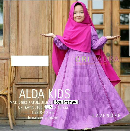 Jual Alda Kid Polka Lavender Busana Muslim Anak Gamis Anak Terbaru