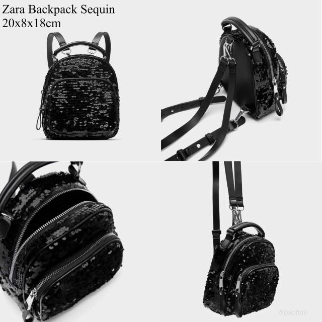 Tas ransel zara backpack sequin mini