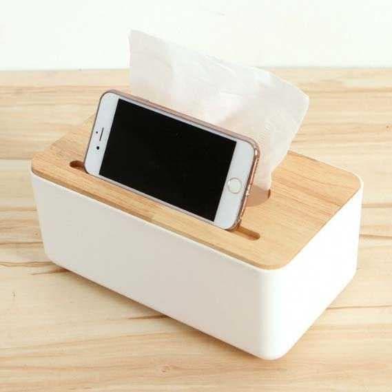harga Kotak tisu kayu dengan smartphone holder Tokopedia.com