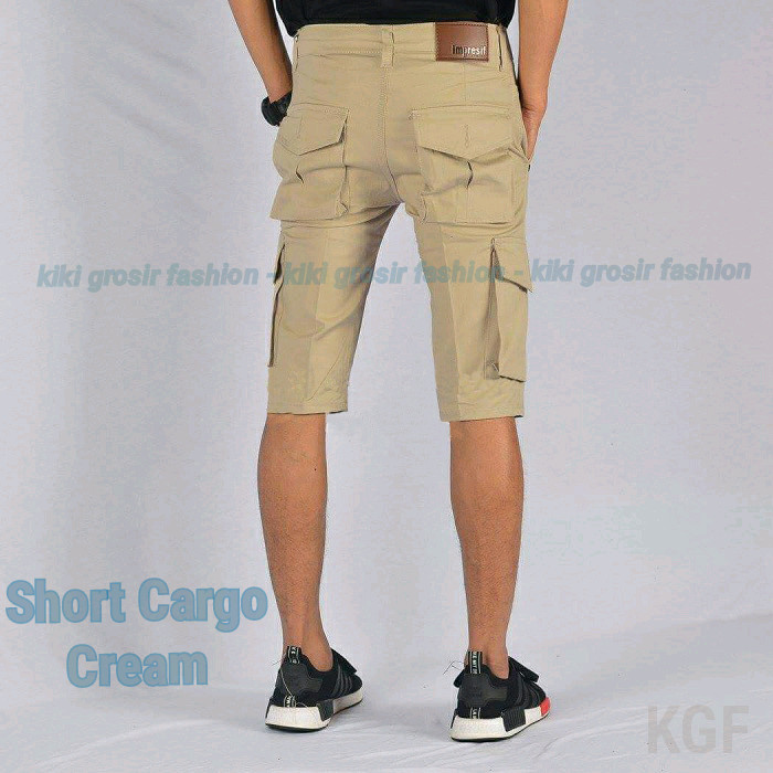 Celana Kargo Pendek Krem Muda-Cream- Short Cargo-Gunung-