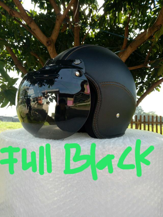 harga Helm kulit bogo retro dewasa full hitam Tokopedia.com