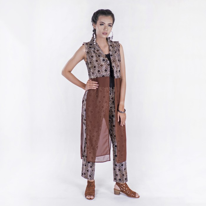 harga Batik pria tampan - long vest kombinasi sifon zig zag dot stripe - cokelat tua xl Tokopedia.com