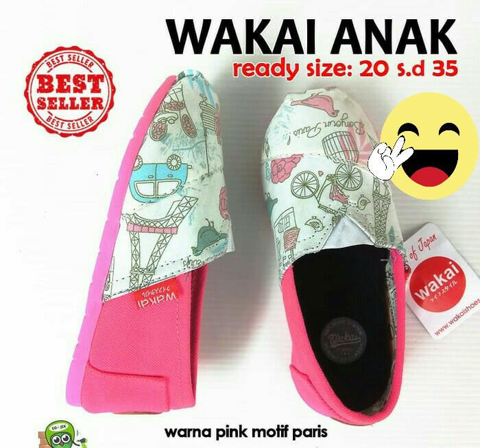 sepatu wakai anak murah - pink motif paris - 33