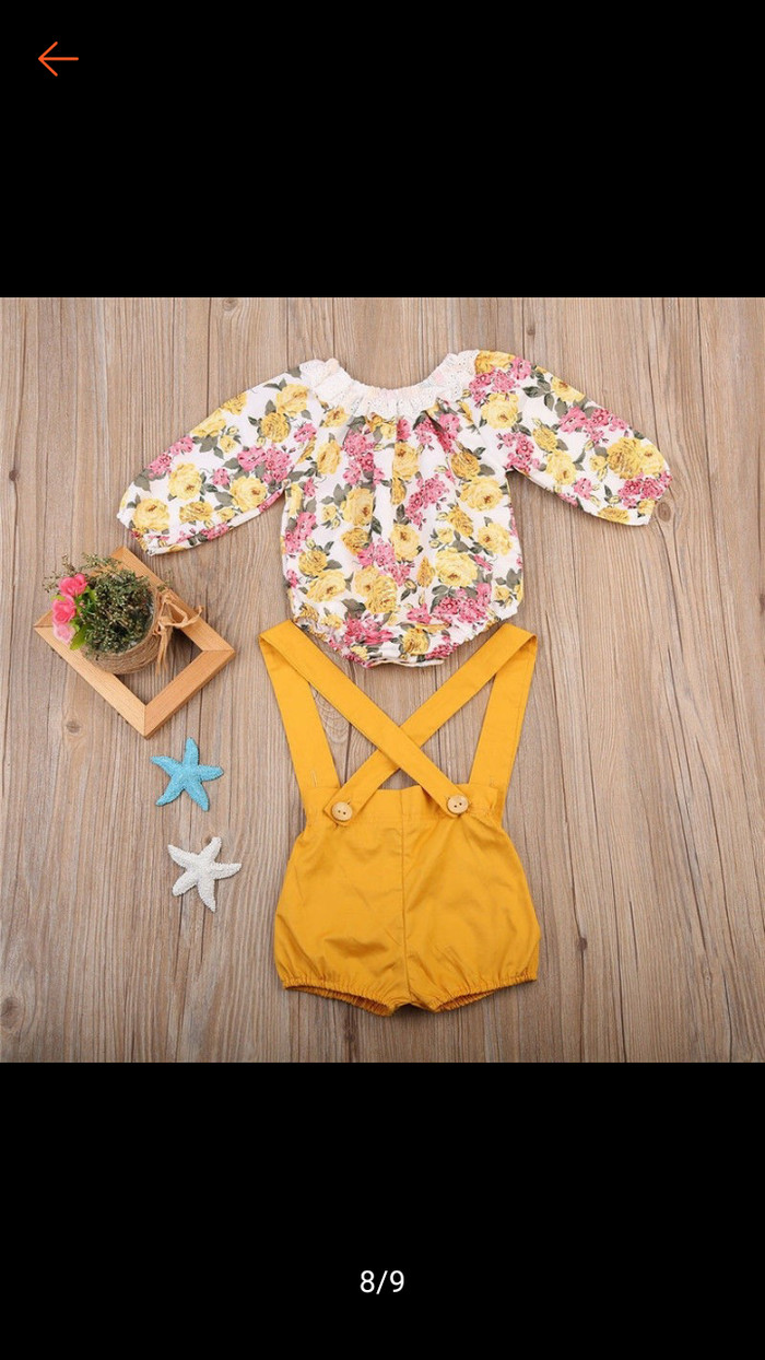 Jual Setelan Romper Import Baju Bayi Anak Perempuan Set 2in1