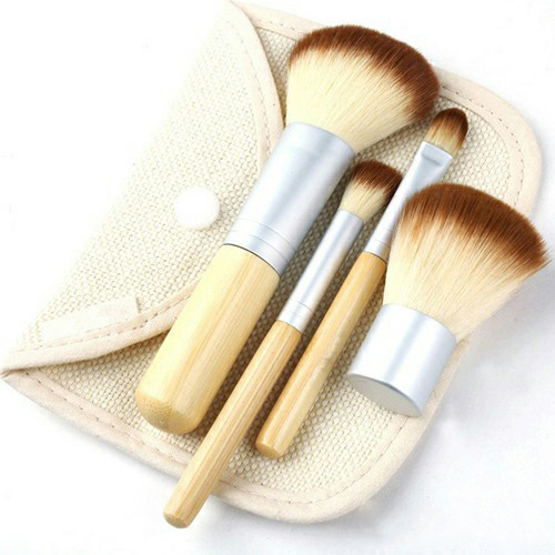 Kuas make up bambu 4 set dan pouch dompet tas kosmetik brush