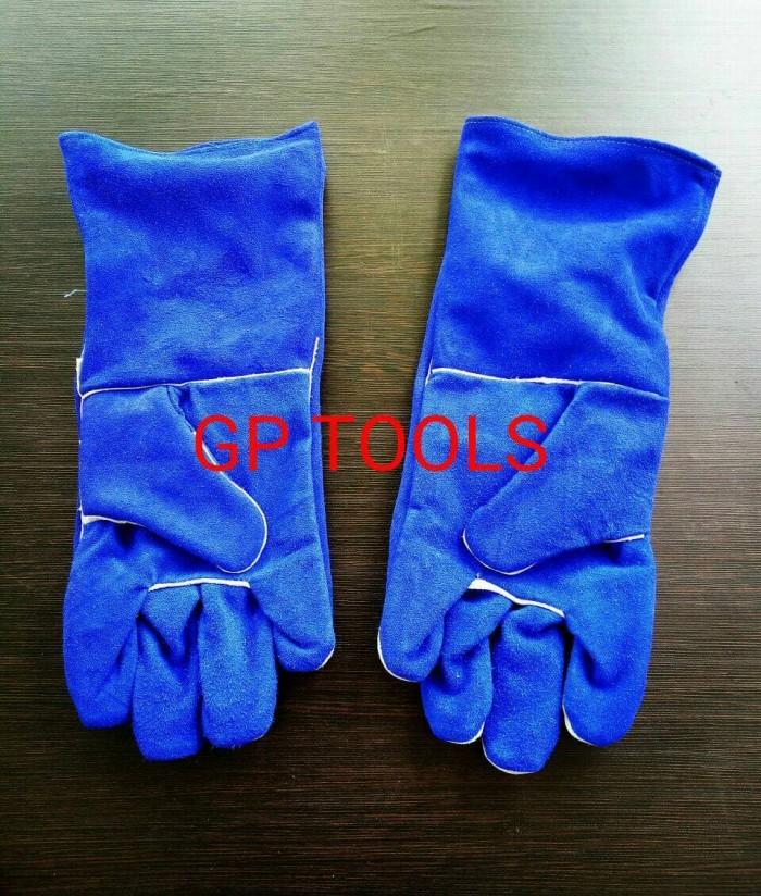 harga Sarung tangan las / sarung tangan kulit / kovet warna biru panjang Tokopedia.com