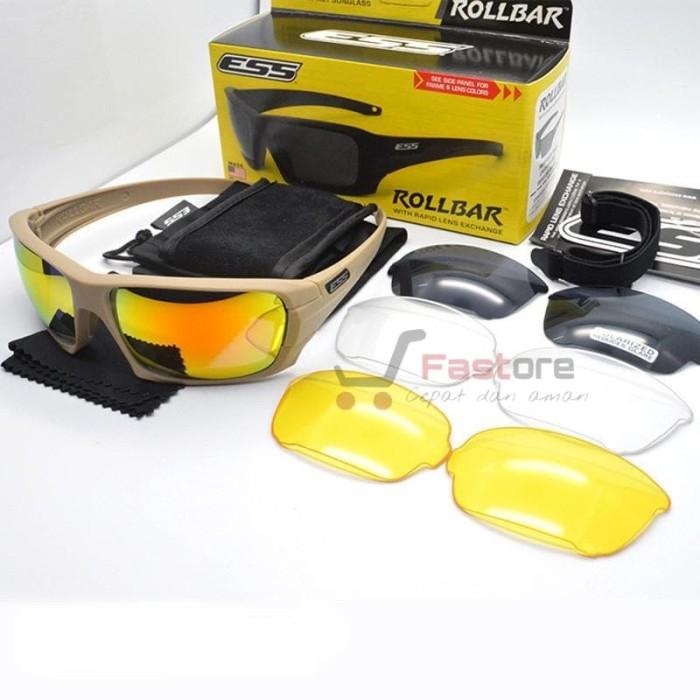Kacamata Ess Rollbar 3 Lensa Frame warna TAN    Airsoft   Sepeda Motor e8ea886475