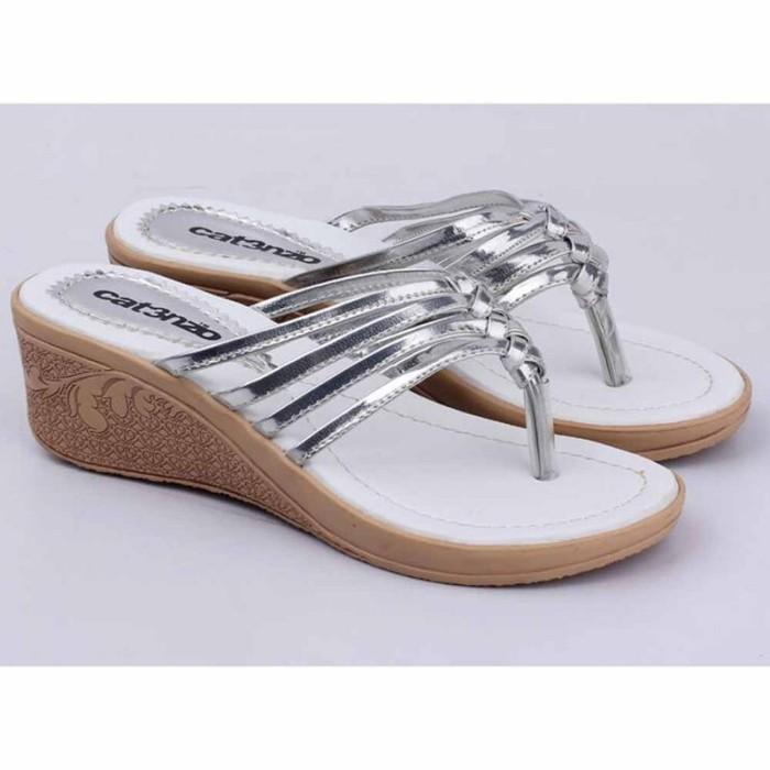 Sandal Sendal Wedges Jepit Wanita Cewek Cewe Warna Silver SI 028 CZ