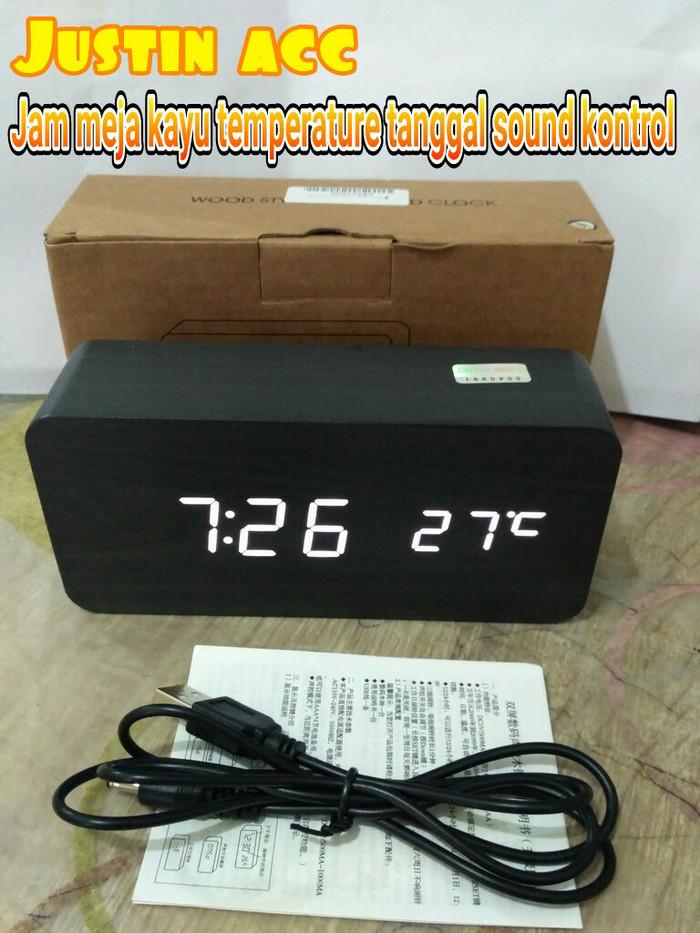 Update Harga Jam Unik Desain Kayu Led Digital termometer Jam Meja ... a7be71c3a6